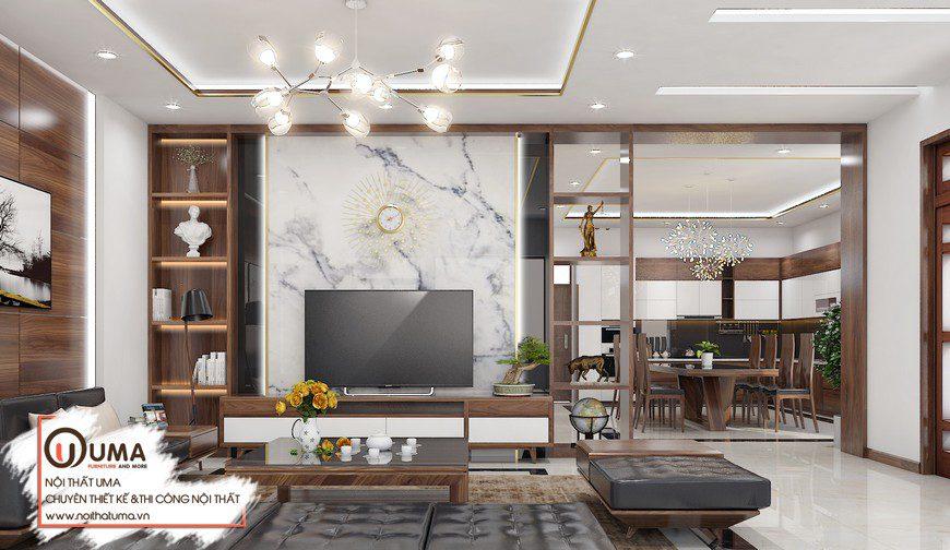 Thiết kế nội thất căn hộ anh Khang tại Vinhome Smart City, , Gỗ óc chó, Nattifi, Phong cách hiện đại, sofa gỗ, Nội thất Chung cư