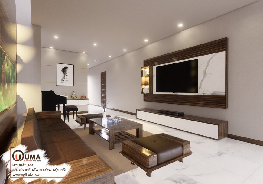 Thiết kế nội thất gỗ Óc chó căn hộ chị Trang, Thiết kế nội thất gỗ Óc chó, Acrylic, gỗ Sồi Mỹ, Phong cách hiện đại, Sofa da, sofa gỗ, Thiết Kế Nội Thất Biệt thự, Thiết Kế Nội thất Chung cư