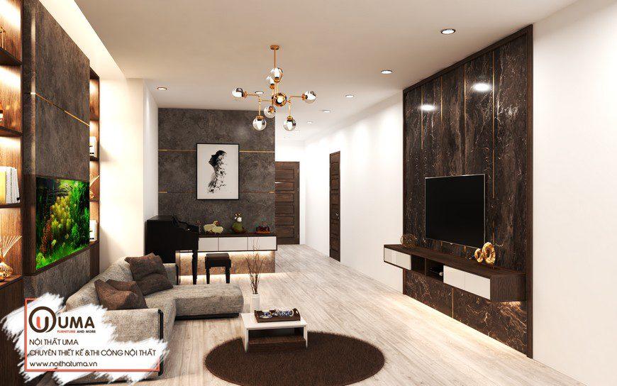 Thiết kế nội thất gỗ Óc chó căn hộ chị Trang