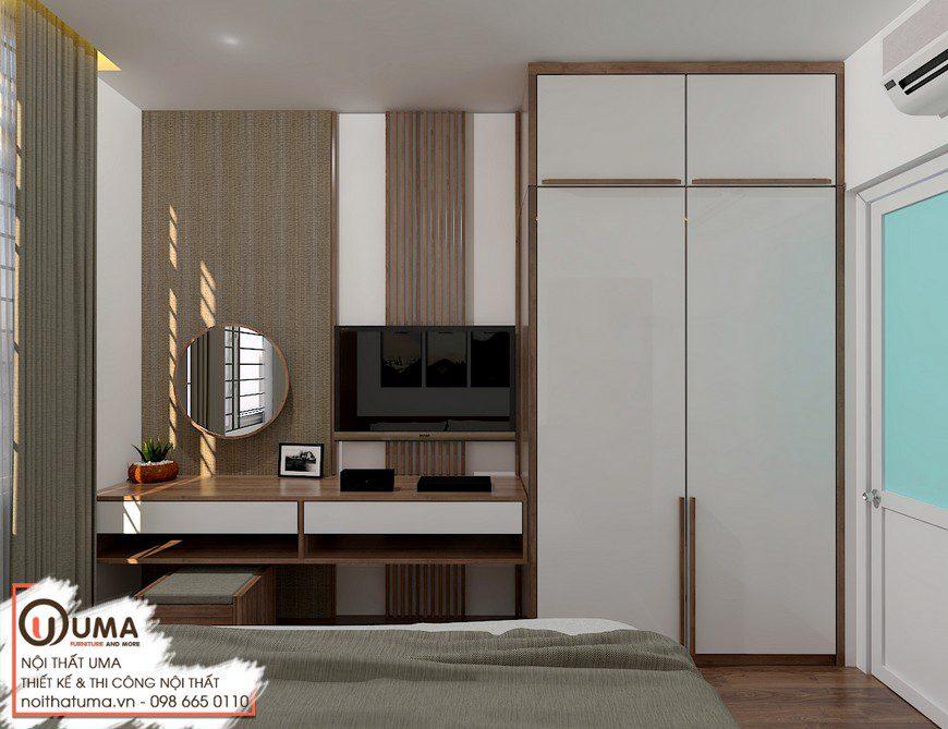 Thiết kế nội thất căn hộ anh Tuấn tại Chung cư FLC Star Tower, Thiết kế Chung cư FLC Star Tower, Melamin, Phong cách hiện đại, Sofa da, Thiết kế nội thất, Thiết Kế Nội thất Chung cư
