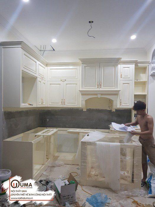 Thiết kế tủ bếp gỗ sồi nga sơn trắng tại Ninh Bình