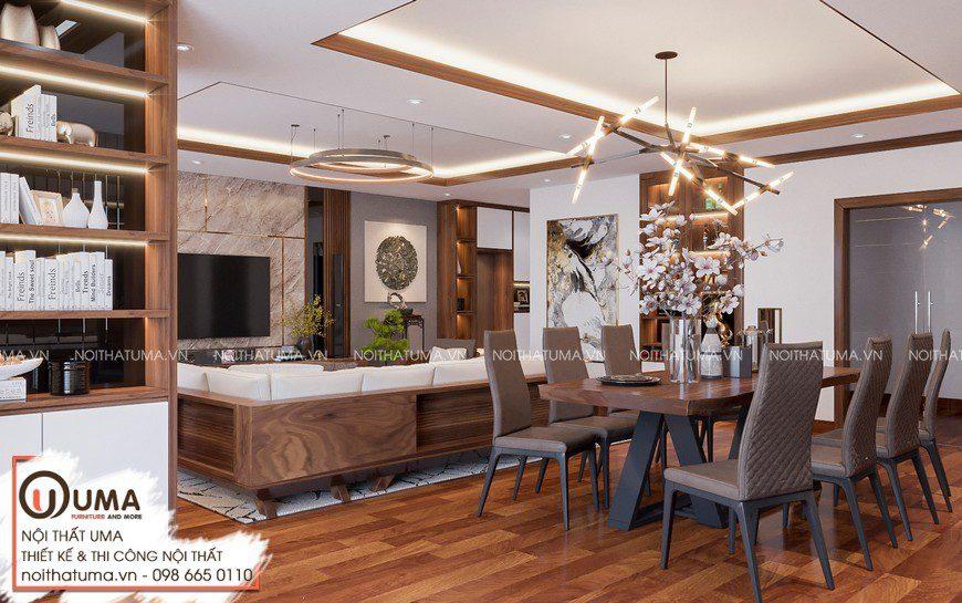 Thiết kế nội thất biệt thự anh Huy -Ninh Bình, Thiết kế nội thất biệt thự Ninh Bình, Gỗ óc chó, Phong cách hiện đại, sofa gỗ, Thiết Kế Nội Thất Biệt thự