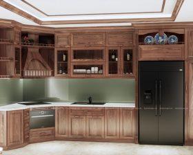 Mẫu tủ bếp gỗ óc chó