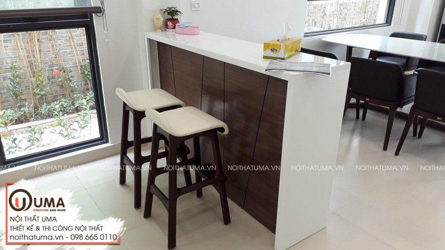 Thi công tủ bếp Acrylic An Cường chữ L có quầy bar nhà anh Hiếu - Móng cái - Quảng Ninh.