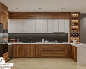 Tủ bếp gỗ óc chó đẹp uma