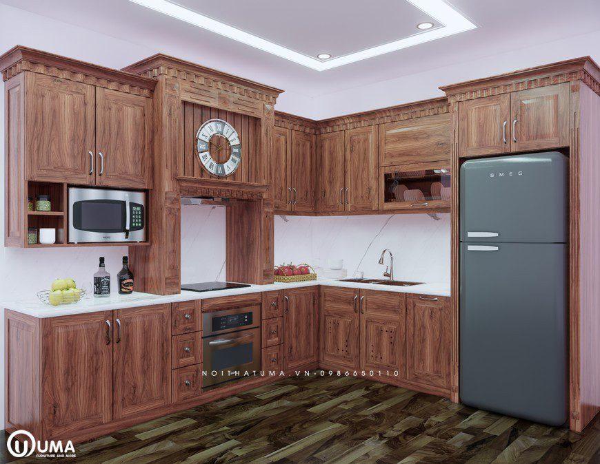 Tủ bếp gỗ Óc Chó mang một nét đẹp cổ điển
