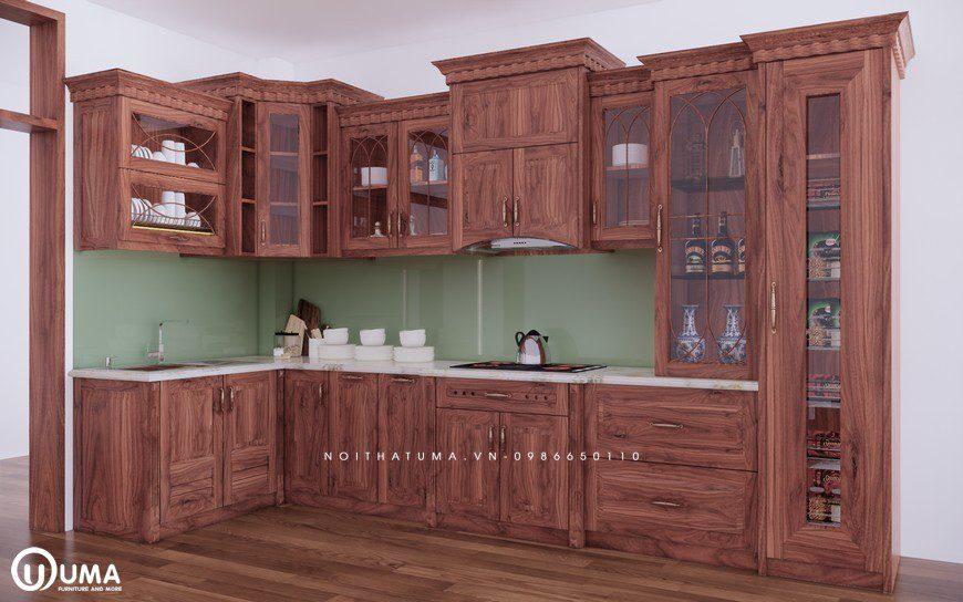 Những vẻ đẹp tự nhiên đầy cuốn hút của tủ bếp gỗ óc chó mang đến sự sang trọng và đẳng cấp