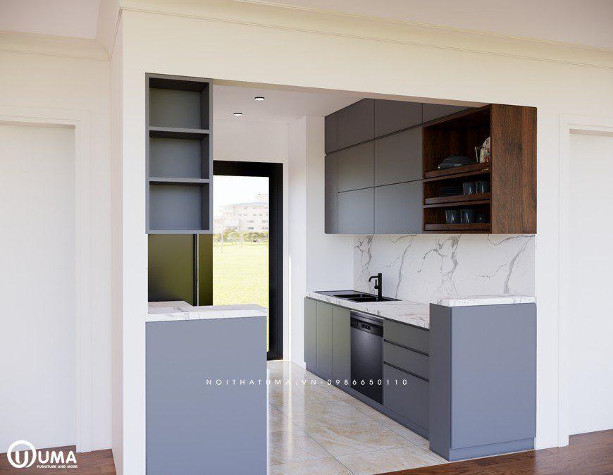 Mẫu tủ bếp Melamine – UML 05 có thiết kế hiện đại, tiện nghi với kiểu dáng chữ I