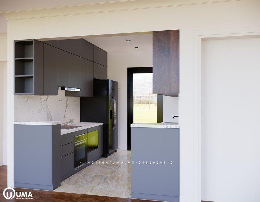 Chất liệu dùng làm tủ bếp Melamine – UML 05 là gỗ công nghiệp cao cấp
