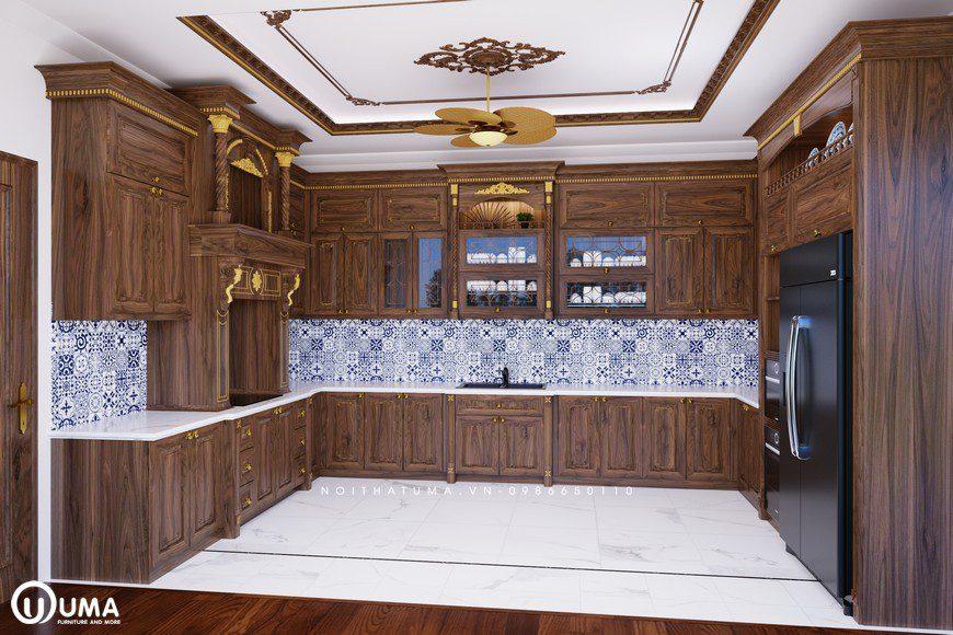 Sự đẳng cấp giàu có cho gia chủ tủ bếp phong cách Tân Cổ Điển cho căn bếp