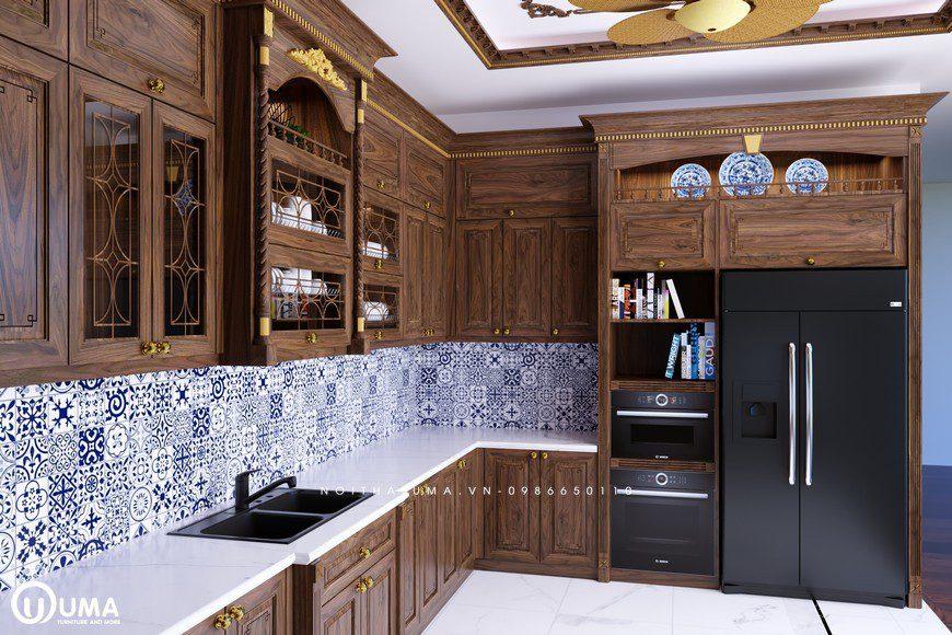 Tủ bếp Tân, Cổ điển gỗ óc chó