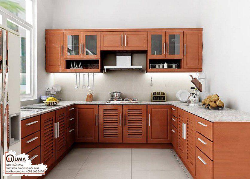 Tủ bếp gỗ Xoan Đào hiện đại mang lại một vẻ đẹp thanh tao