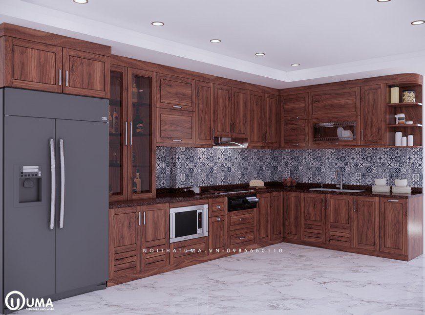 Tủ bếp gỗ óc chó ngày càng được ưa chuộng bởi những mẫu thiết kế sáng tạo