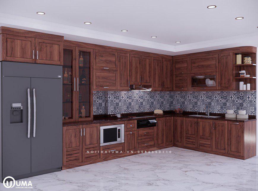 Tủ bếp gỗ óc chó có độ bền và đạt tính thẩm mỹ cao