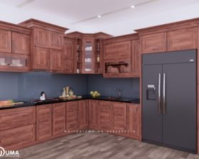 Tủ bếp gỗ Gõ đỏ – UGG 06