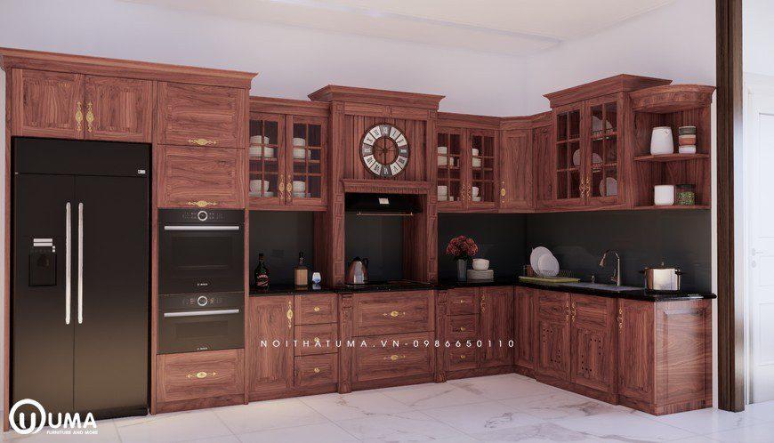 Tủ bếp gỗ Gõ đỏ – UGG 07