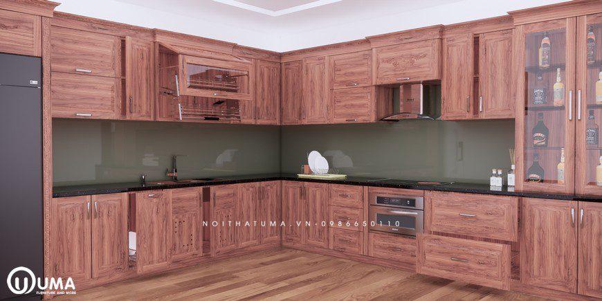 Tủ bếp gỗ Gõ đỏ – UGG 10, Tủ bếp gỗ Gõ đỏ, ,
