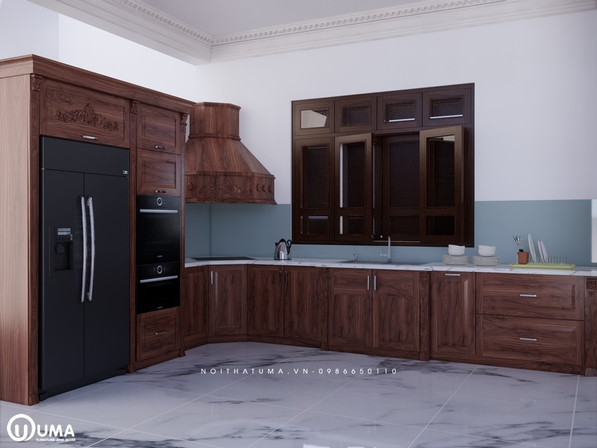 Tủ bếp gỗ Gõ đỏ – UGG 12