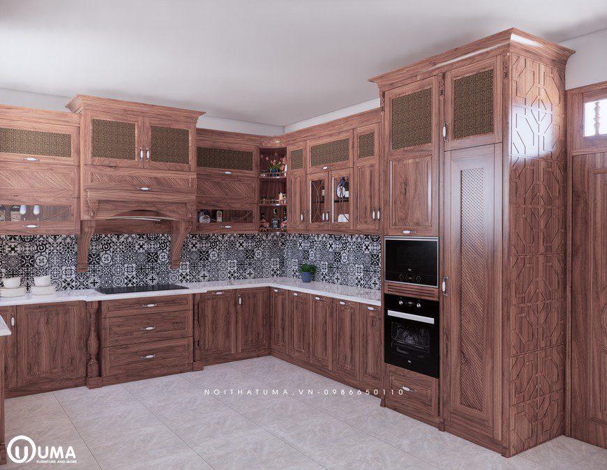 Tủ bếp gỗ Gõ Đỏ - UGG 01