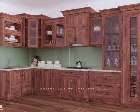 Tủ bếp gỗ Gõ Đỏ - UGG 04