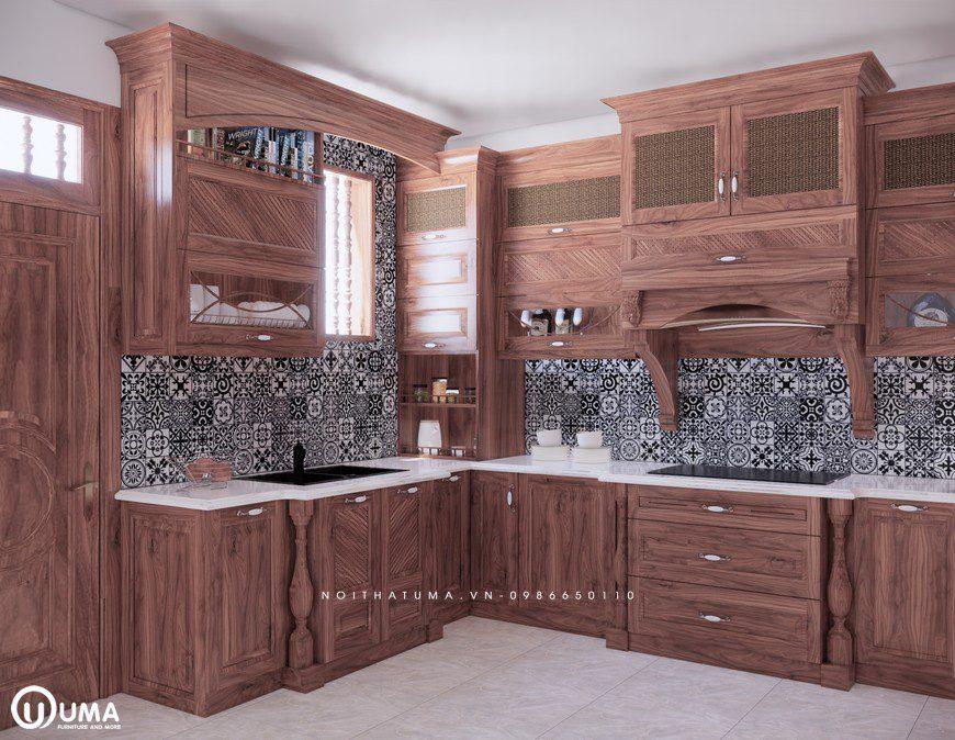 Tủ bếp gỗ óc chó được làm từ chất liệu gỗ tự nhiên sang trọng thu hút mọi ánh nhìn