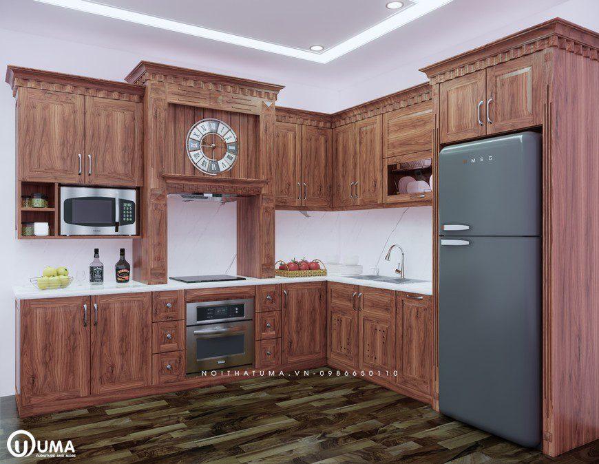 Tủ bếp gỗ óc chó mang đến sự sang trọng và lịch lãm cho không gian căn bếp