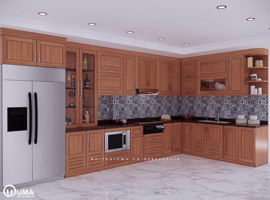 Mẫu tủ bếp gỗ Sồi Mỹ – USM 06 thiết kế theo phong cách hiện đại với kiểu dáng hình chữ L
