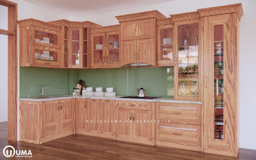 Tủ bếp gỗ Sồi Mỹ - USM 09 - Nội Thất UMA