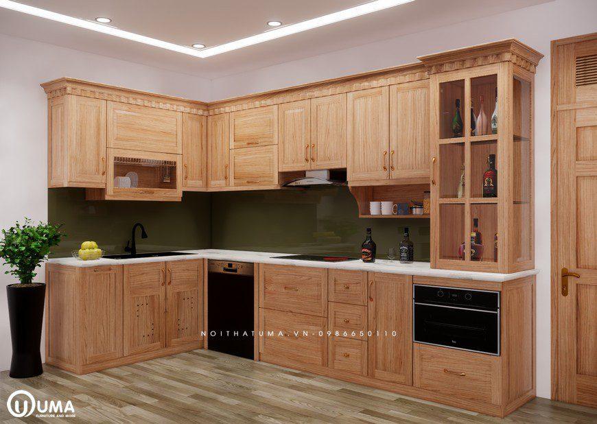 Tủ bếp gỗ Sồi Mỹ - USM 17, tủ bếp gỗ Sồi Mỹ, ,