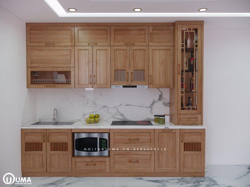 Tủ bếp gỗ Sồi Mỹ - USM 23 - Nội Thất UMA