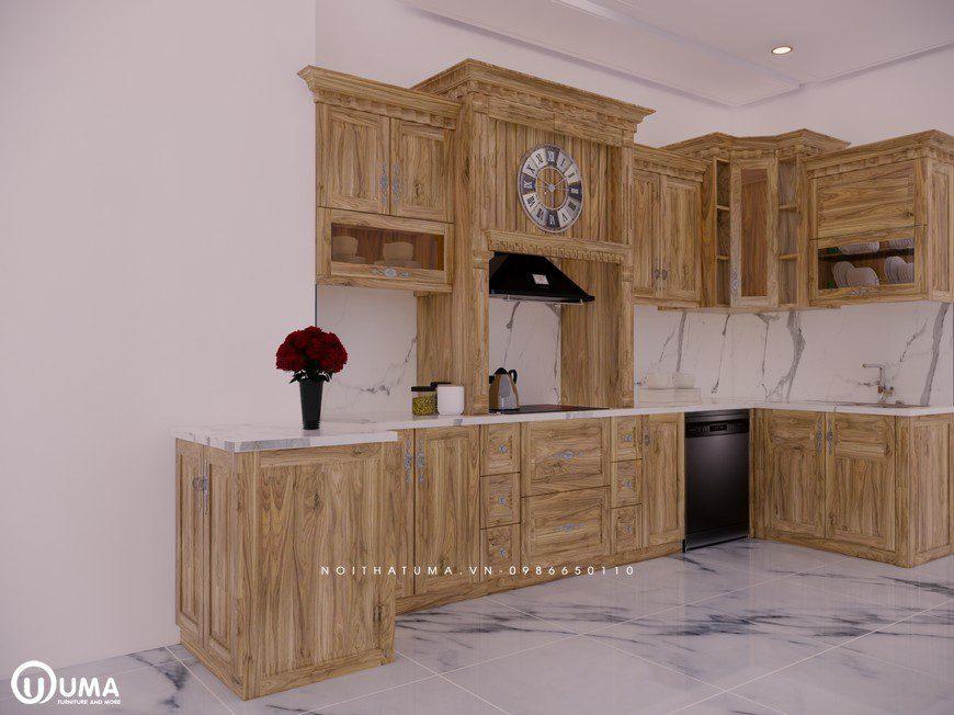 Tủ bếp gỗ Sồi Nga - USN 01, Tủ bếp gỗ Sồi Nga, ,