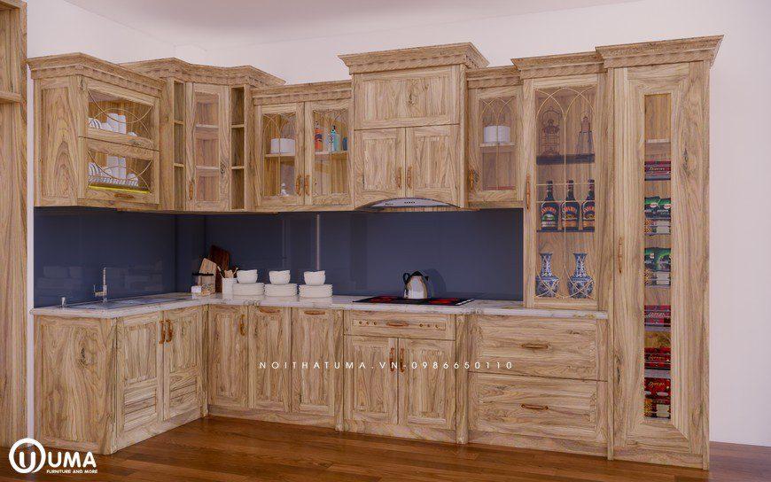 Tủ bếp gỗ Sồi Nga - USN 07, Tủ bếp gỗ Sồi Nga, ,