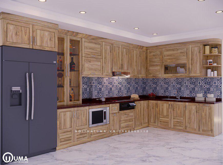 Tủ bếp gỗ Sồi Nga - USN 08 - Nội Thất UMA