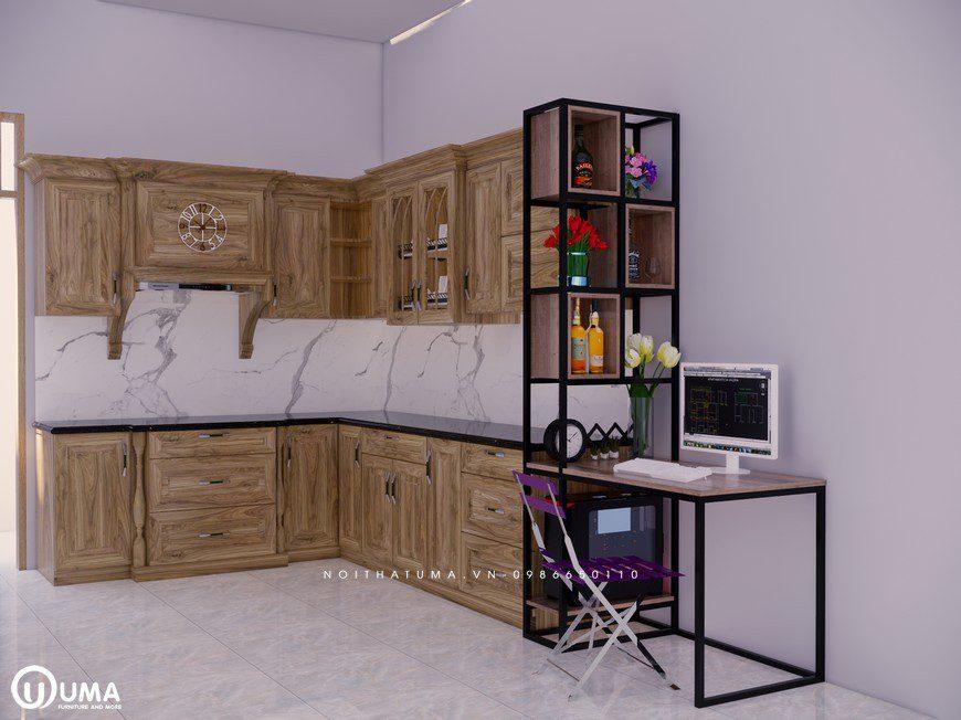 Tủ bếp gỗ Sồi Nga - USN 09, Tủ bếp gỗ Sồi Nga, ,