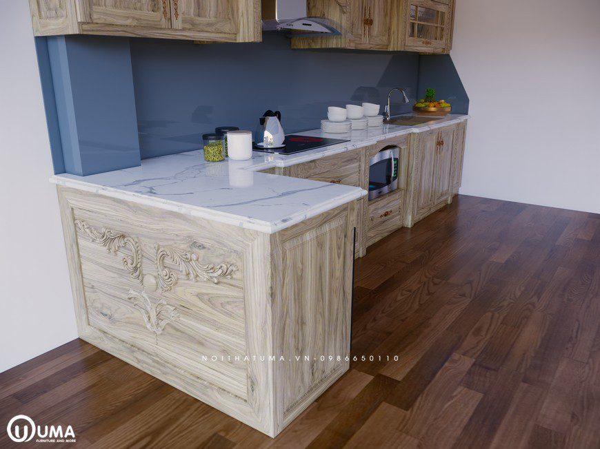 Tủ bếp gỗ Sồi Nga - USN 12, Tủ bếp gỗ Sồi Nga, ,