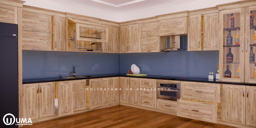 Tủ bếp gỗ Sồi Nga - USN 14, Tủ bếp gỗ Sồi Nga, ,