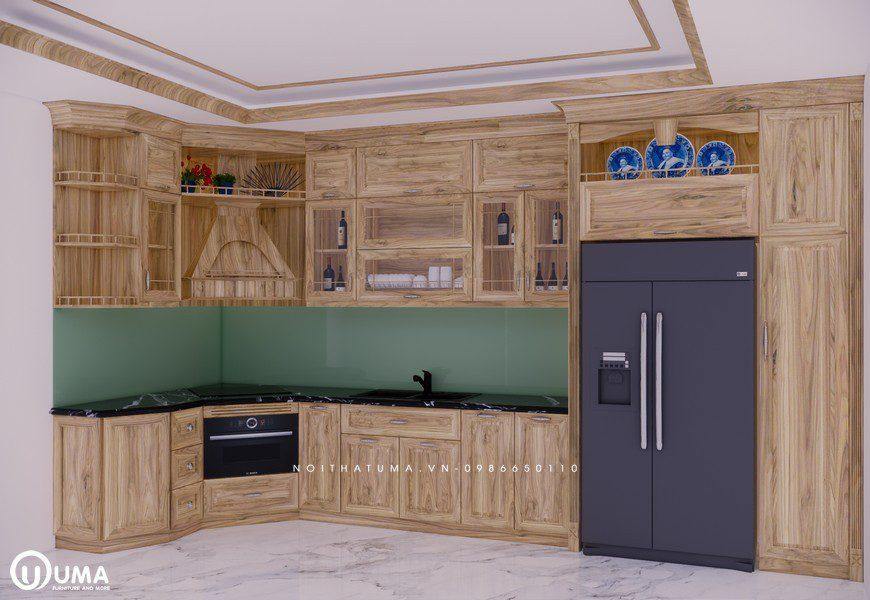 Tủ bếp gỗ Sồi Nga - USN 21 - Nội Thất UMA