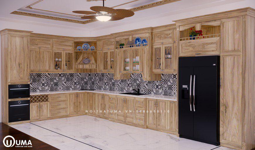 Tủ bếp gỗ Sồi Nga - USN 22, tủ bếp gỗ Sồi Nga, ,
