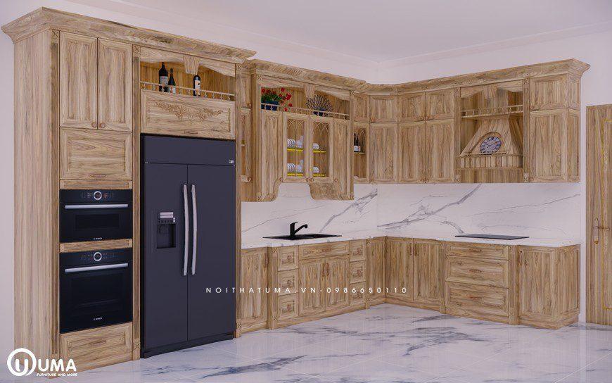 Tủ bếp gỗ Sồi Nga - USN 23, Tủ bếp gỗ Sồi Nga, ,