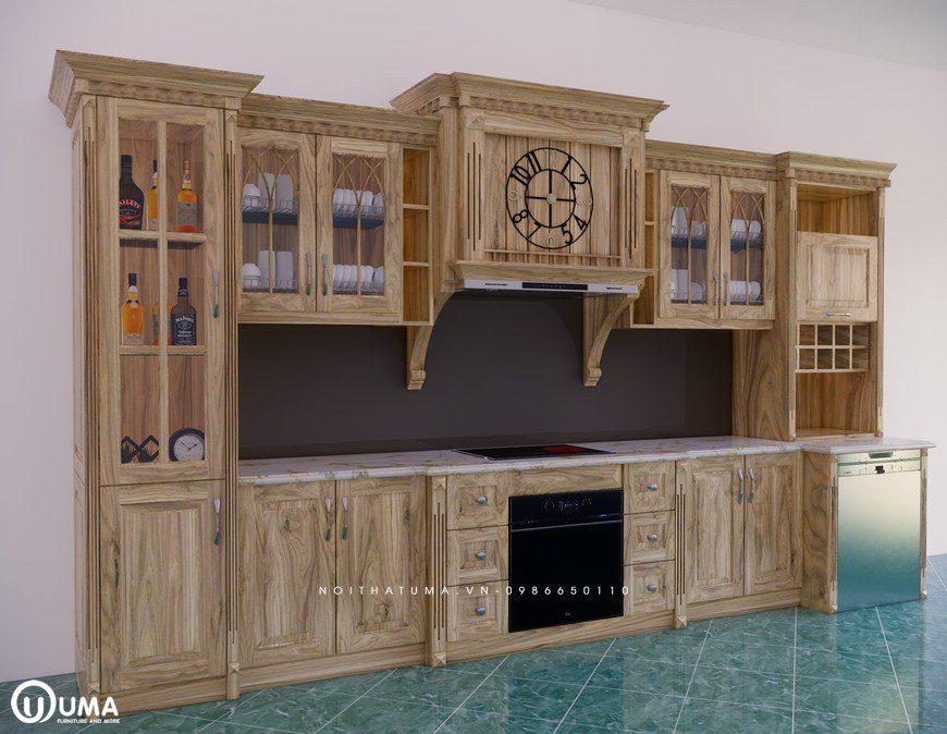 Tủ bếp gỗ Sồi Nga - USN 24, tủ bếp gỗ Sồi Nga, ,