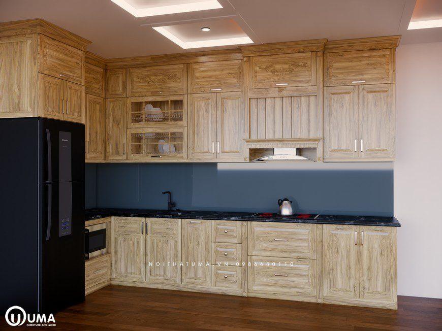 Tủ bếp gỗ Sồi Nga - USN 25, Tủ bếp gỗ Sồi Nga, ,