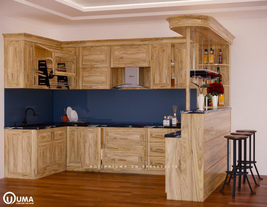 Tủ bếp gỗ Sồi Nga - USN 01, Tủ bếp gỗ Sồi Nga, Tủ bếp Sồi Nga, Tủ bếp Sồi Nga