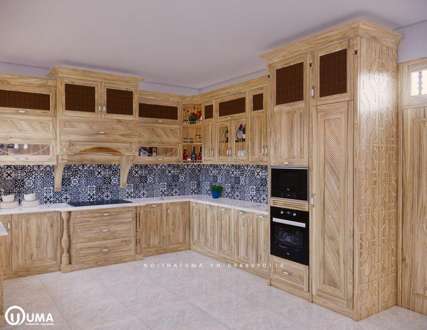Tủ bếp gỗ Sồi Nga - USN 04, Tủ bếp gỗ Sồi Nga, ,