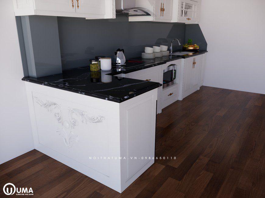 Tủ bếp gỗ Sồi Nga sơn trắng - UNT 10, , ,
