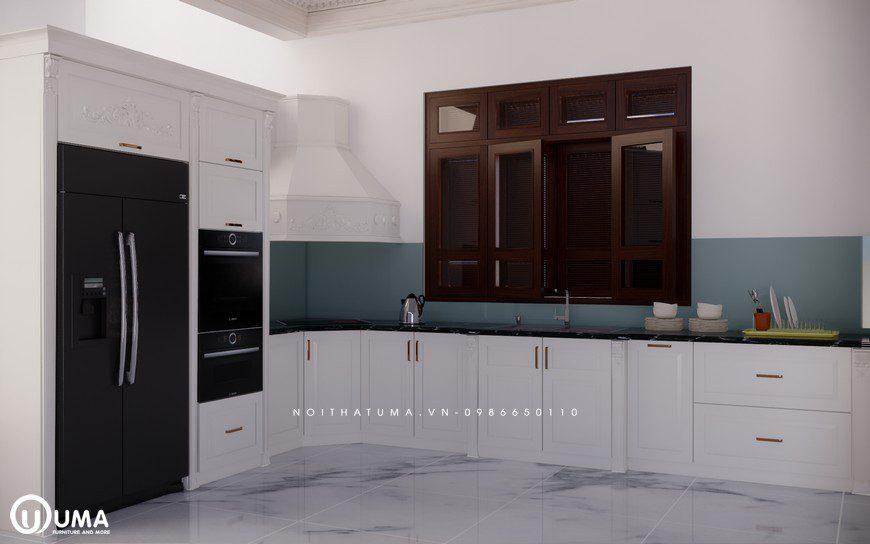 Tủ bếp gỗ Sồi Nga sơn trắng - UNT 11, , ,