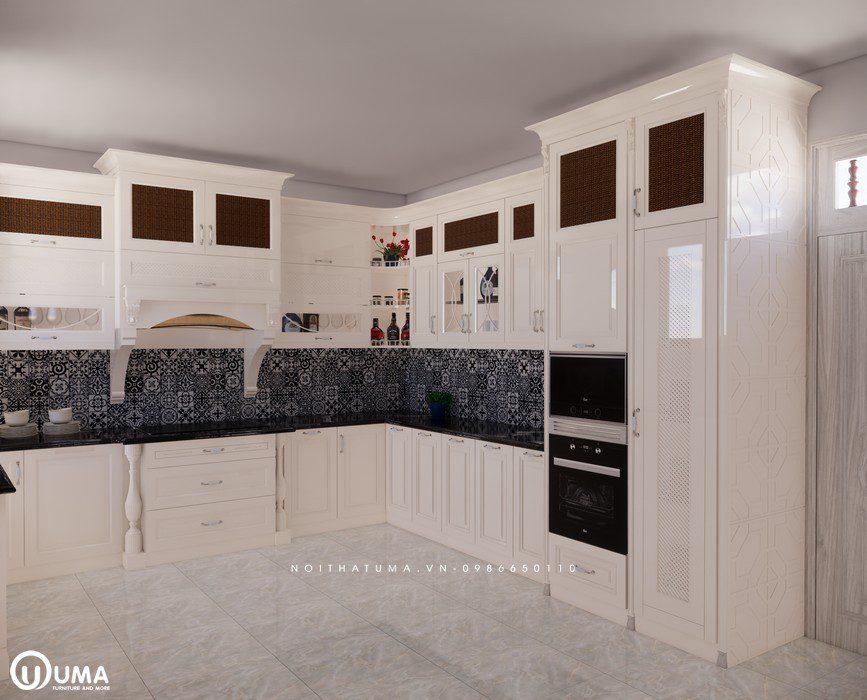 Tủ bếp gỗ Sồi Nga sơn trắng - UNT 01, , ,