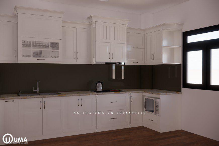 Tủ bếp gỗ Sồi Nga sơn trắng - UNT 14, , ,