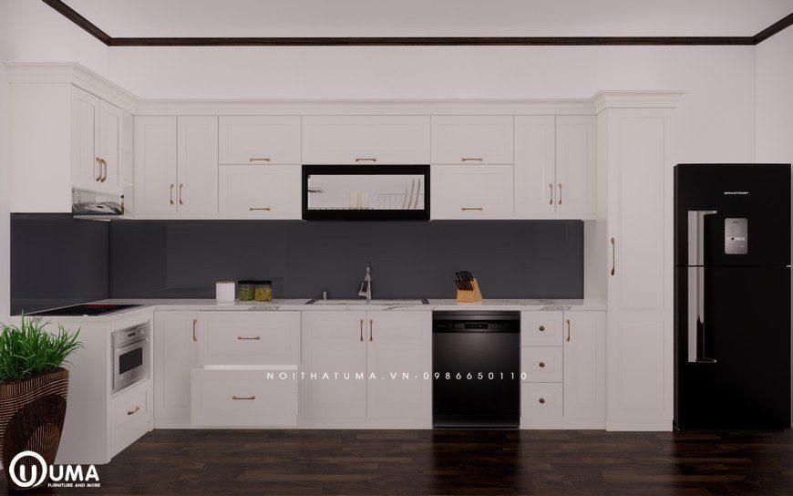 Tủ bếp gỗ Sồi Nga sơn trắng - UNT 17, Tủ bếp gỗ Sồi Nga sơn trắng, ,