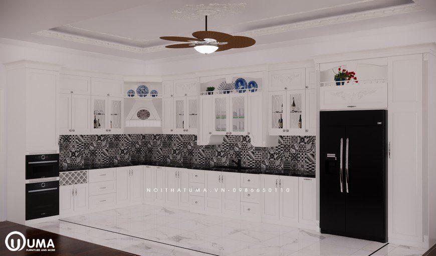 Tủ bếp gỗ Sồi Nga sơn trắng - UNT 19, Tủ bếp gỗ Sồi Nga sơn trắng, ,
