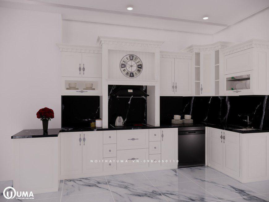 Tủ bếp gỗ Sồi Nga sơn trắng - UNT 20, Tủ bếp gỗ Sồi Nga sơn trắng, ,